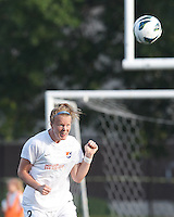 Sky Blue FC defender Courtney Goodson (2) heads the ball.  In a National Women's Soccer League (NWSL) match, Boston Breakers (blue) defeated Sky Blue FC (white), 3-2, at Dilboy Stadium on June 30, 2013.