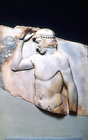 Greek Art:  Relief of a Victorious Boy Athlete.  Around 470-460 B.C.  Greek Ministry of Culture, Athens.