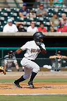 """Charleston Riverdogs outfielder Matt McPhearson (1) at bat during a game against the Hickory Crawdads at the Joseph P. Riley Ballpark in Charleston, South Carolina. For Sunday games, the Riverdogs wear their """"Holy City"""" uniforms in honor of the city's nickname. Hickory defeated Charleston 8-7. (Robert Gurganus/Four Seam Images)"""