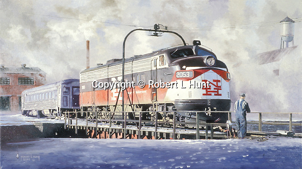 """A New Haven Railroad F9 diesel unit on the turntable in the Connecticut snow and cold. Oil on canvas, 16"""" x 28""""."""