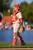 Auburn Doubledays catcher Alex Marquez (15) signals one out during a game against the Batavia Muckdogs on August 27, 2014 at Dwyer Stadium in Batavia, New York.  Auburn defeated Batavia 6-4.  (Mike Janes/Four Seam Images)