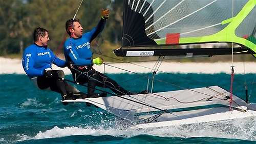 In the thick of it – Marcus Spillane and Rory Fitzpatrick racing a 49er in the Worlds