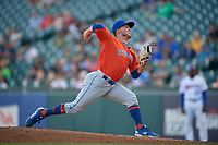Syracuse Mets pitcher Ryley Gilliam (17) during an International League game against the Buffalo Bisons on June 29, 2019 at Sahlen Field in Buffalo, New York.  Buffalo defeated Syracuse 9-3.  (Mike Janes/Four Seam Images)