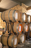 Fermentation in barrel. Oak barrel aging and fermentation cellar. Girolate winery. Despagne Vineyards and Chateaux, Bordeaux, France
