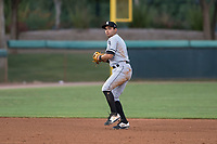 AZL White Sox shortstop Camilo Quintero (1) prepares to make a throw to first base during an Arizona League game against the AZL Dodgers at Camelback Ranch on July 7, 2018 in Glendale, Arizona. The AZL Dodgers defeated the AZL White Sox by a score of 10-5. (Zachary Lucy/Four Seam Images)