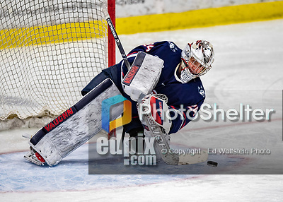 9 February 2020: University of Connecticut Husky Goaltender Morgan Fisher, a Senior from Vernon, CT, clears the puck after a third period save against the University of Vermont Catamounts at Gutterson Fieldhouse in Burlington, Vermont. The Lady Cats defeated the Huskies 6-2 in the second game of their weekend Hockey East series. Mandatory Credit: Ed Wolfstein Photo *** RAW (NEF) Image File Available ***