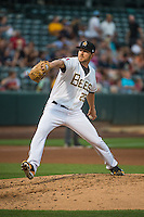 Salt Lake Bees starting pitcher Adam Wilk (29) delivers a pitch to the plate against the Iowa Cubs in Pacific Coast League action at Smith's Ballpark on August 20, 2015 in Salt Lake City, Utah.The Cubs defeated the Bees 13-2.  (Stephen Smith/Four Seam Images)