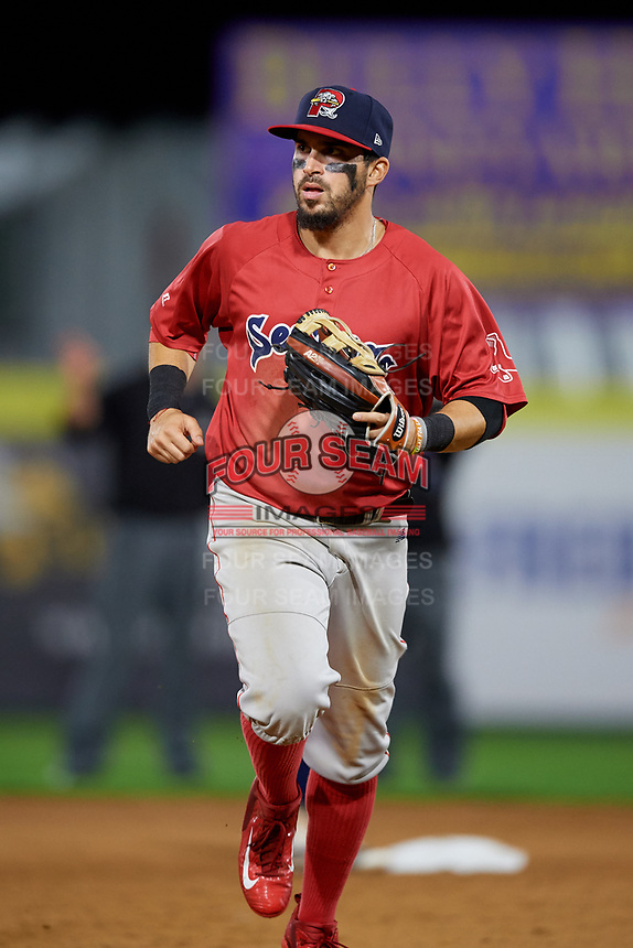 Portland Sea Dogs right fielder Chris Madera (5) jogs back to the dugout during a game against the Binghamton Rumble Ponies on August 31, 2018 at NYSEG Stadium in Binghamton, New York.  Portland defeated Binghamton 4-1.  (Mike Janes/Four Seam Images)