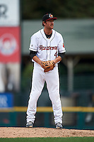 Rochester Red Wings pitcher Mark Hamburger (41) gets ready to deliver a pitch during a game against the Pawtucket Red Sox on July 1, 2015 at Frontier Field in Rochester, New York.  Rochester defeated Pawtucket 8-4.  (Mike Janes/Four Seam Images)