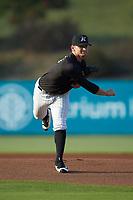 Kannapolis Intimidators starting pitcher Zach Lewis (28) follows through on his delivery against the Hagerstown Suns at Kannapolis Intimidators Stadium on July 16, 2018 in Kannapolis, North Carolina. The Intimidators defeated the Suns 7-6. (Brian Westerholt/Four Seam Images)