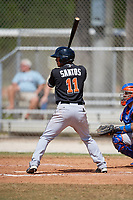Miami Marlins Jhonny Santos (11) at bat during a minor league Spring Training game against the New York Mets on March 26, 2017 at the Roger Dean Stadium Complex in Jupiter, Florida.  (Mike Janes/Four Seam Images)