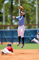 FCL Rays second baseman Mike Brosseau (43), on rehab assignment from the Tampa Bay Rays, jumps for a throw during a game against the FCL Twins on July 20, 2021 at Charlotte Sports Park in Port Charlotte, Florida.  (Mike Janes/Four Seam Images)