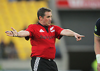 Referee Bryce Lawrence awards a scrum during the ITM Cup semifinal rugby union match between Wellington Lions and Auckland at Westpac Stadium, Wellington, New Zealand on Saturday, 20 October 2012. Photo: Dave Lintott / lintottphoto.co.nz
