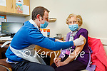 98 year old Mary Keogh from Listowel receiving her vaccine from Dr Paul McKernan at the Convent Street Clinic in Listowel on Thursday.