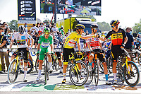 18th July 2021; Paris, France; CAVENDISH Mark (GBR) of DECEUNINCK - QUICK-STEP, POELS Wouter (NED) of BAHRAIN VICTORIOUS, VAN AERT Wout (BEL) of JUMBO-VISMA, VINGEGAARD Jonas (DEN) of JUMBO-VISMA and POGACAR Tadej (SLO) of UAE TEAM EMIRATES during stage 21 of the 108th edition of the 2021 Tour de France cycling race, the stage of 108,4 kms between Chatou and finish at the Champs Elysees in Paris.