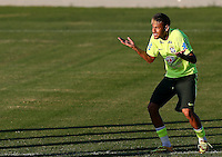 Neymar of Brazil gestures during training ahead of tomorrow's World Cup quarter final vs Colombia tomorrow