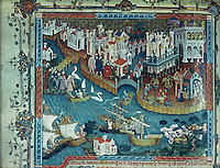 Venice:  Marco Polo at Venice.  English, c. 1400.  Original is 230 x 200 MM.  Reference only.
