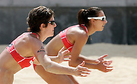 Nicole Branagh, left, and Angie Akers, of the United States, in action during the Beach Volleyball World Championship in Rome, 14 june 2011..UPDATE IMAGES PRESS/Riccardo De Luca