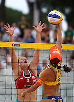Brazil's Taiana Lima, right, in action against Britta Buthe at the Beach Volleyball World Tour Grand Slam, Foro Italico, Rome, 22 June 2013. Brazil defeated Germany 2-1.<br /> UPDATE IMAGES PRESS/Isabella Bonotto