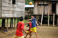 Emberá Dóvida  indigenous kids  plays in Choco department, in the Pacific coast of Colombia