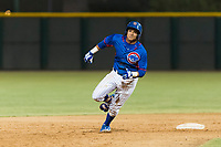 AZL Cubs 2 third baseman Fidel Mejia (17) hustles towards third base during an Arizona League game against the AZL Indians 2 at Sloan Park on August 2, 2018 in Mesa, Arizona. The AZL Indians 2 defeated the AZL Cubs 2 by a score of 9-8. (Zachary Lucy/Four Seam Images)