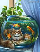 Nadia, REALISTIC ANIMALS, REALISTISCHE TIERE, ANIMALES REALISTICOS,cat,goldfish,aquarium,  paintings+++++,RUNS19,#A#, EVERYDAY ,puzzle,puzzles