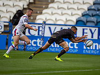 22nd August 2020; The John Smiths Stadium, Huddersfield, Yorkshire, England; Rugby League Coral Challenge Cup, Catalan Dragons versus Wakefield Trinity; David Mead of Catalan Dragons goes over and scores the opening try