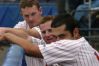 August 3, 2003:  Jack Headley, Zach Norman, and Jose Cortez of the Batavia Muckdogs during a game at Dwyer Stadium in Batavia, New York.  Photo by:  Mike Janes/Four Seam Images