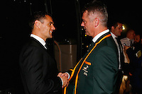 LONDON, ENGLAND - NOVEMBER 01:  (L-R) Dan Carter of New Zealand shakes hands with Heynecke Meyer the coach of South Africa during the World Rugby Awards 2015 at Battersea Evolution on November 1, 2015 in London, England.  (Photo: World Rugby)