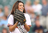 Miss Maryland throws out the first pitch during a MLB game between the Baltimore Orioles and the Seattle Mariners at Camden Yards, on August 8 2010, in Baltimore, Maryland.