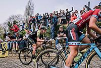 The Peloton at the top of the Muur,  16th Ronde Van Vlaanderen, Jess Allen, Fien Delbaere<br /> <br /> Elite Womans Race (1.WWT)<br /> <br /> One day race from Oudenaarde to Oudenaarde<br /> ©Jojo Harper for Kramon