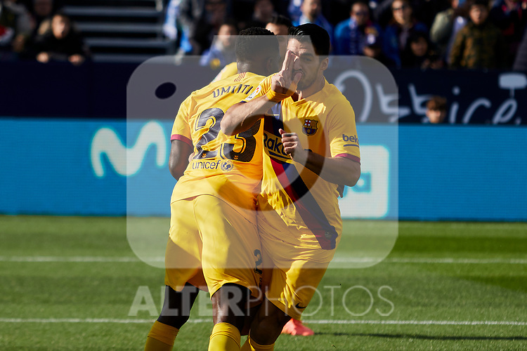 Samuel Umtiti (L) and Luis Suarez (R) of FC Barcelona celebrate goal during La Liga match between CD Leganes and FC Barcelona at Butarque Stadium in Leganes, Spain. November 23, 2019. (ALTERPHOTOS/A. Perez Meca)