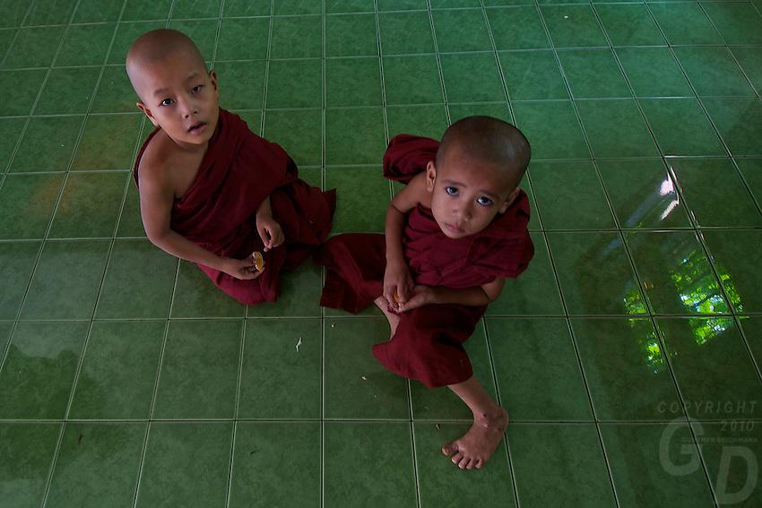 Novice Monks daily life at a large Buddhist Monastery Yangon, Myanmar