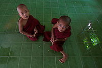 Novice Monks daily life at a large Buddhist Monastery Yangon, Myanmar