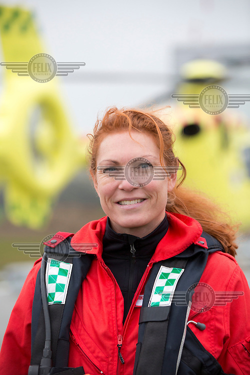 Doctor Rikke Helene Rasmussen. <br /> <br /> <br /> Denmarks first  air ambulance serivce, operated by Norwegian Air Ambulance. The crew is pilot Jan Nielsen, HEMS paramedic Lars Greve-Wilms and doctor Rikke Helene Rasmussen. <br /> <br /> The crew operate an Airbus EC-135 out of the Ringsted base, one of three bases in Denmark.