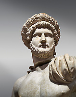 Roman statue of Emperor Hadrian .Marble. Perge. 2nd century AD. Inv no 3861-3863 .Antalya Archaeology Museum; Turkey.