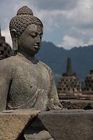 Borobudur, Java, Indonesia.  Buddha Statue, Borobudur Temple.