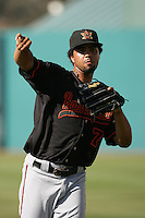 Carlos Pimentel of the Bakersfield Blaze during game against the Lake Elsinore Storm at The Diamond in Lake Elsinore,California on July 25, 2010. Photo by Larry Goren/Four Seam Images