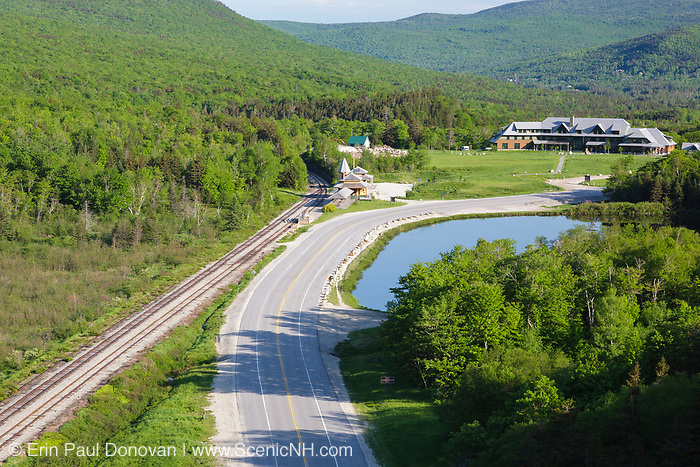The Appalachian Mountain Club's Highland Center from Elephant Head in Carroll, New Hampshire. Elephant Head is a scenic overlook along the Webster-Jackson Trail. Saco Lake and Train Depot are in view. The Highland Center occupies the site of the historic Crawford House (1828-1977).