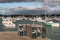 Lobster boats and traps at Bass Harbor, Maine, USA