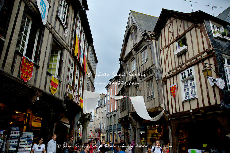 Place des Cordeliers, a shopping street in the medieval town of Dinan, Brittany, France.