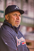 5 April 2014: Atlanta Braves Manager Fredi Gonzalez sits in the dugout prior to a game against the Washington Nationals at Nationals Park in Washington, DC. The Braves defeated the Nationals 6-2 to take the second game of their 3-game series. Mandatory Credit: Ed Wolfstein Photo *** RAW (NEF) Image File Available ***