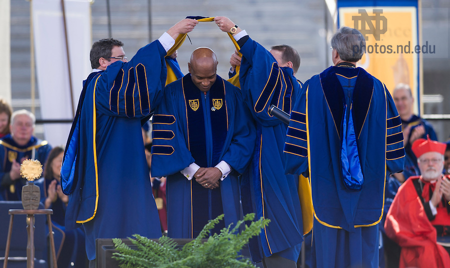 May 18, 2014; Rev. Dr. Ray Hammond, founder of Bethel African Methodist Episcopal Church in Boston and Commencement speaker is awarded an honorary doctorate during the 2014 Commencement ceremony in Notre Dame Stadium. Photo by Barbara Johnston/University of Notre Dame
