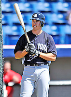 12 March 2011: New York Yankees' infielder Doug Bernier awaits his turn in the batting cage prior to a Spring Training game against the Washington Nationals at Space Coast Stadium in Viera, Florida. The Nationals edged out the Yankees 6-5 in Grapefruit League action. Mandatory Credit: Ed Wolfstein Photo
