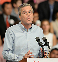 MIAMI, FL - JUNE 15: Former Florida Governor Jeb Bush on stage to announce his candidacy for the 2016 Republican presidential nomination at Miami Dade College - Kendall Campus Theodore Gibson Health Center (Gymnasium) June 15, 2015 in Miami, Florida. John Ellis 'Jeb' Bush will attempt to follow his brother and father into the nation's highest office when he officially announces today that he'll run for president of the United States<br /> <br /> <br /> People:  Jeb Bush