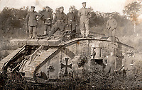 BNPS.co.uk (01202) 558833. <br /> Pic: ZeitgeistToursLtd/BNPS<br /> <br /> Pictured: Germans pose with 'Hanni' - Female Beutetank Mk.IV of Abteilung 12 in July 1918. <br /> <br /> Never-before-seen photos of the first time the Germans used captured British tanks against Allied soldiers have come to light on the 103rd anniversary of the battle. <br /> <br /> The British were the first to invent the tank in 1916 and a year later used them to overwhelm the enemy at the Battle of Cambrai in the First World War.<br /> <br /> Although the battle was a success for the British, the Germans captured several Mark IV tanks.<br /> <br /> Rather than build their own from scratch, the Germans adapted the British ones to suit their needs.