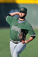 Starting pitcher Michael Connolly (23) of the Augusta GreenJackets warms up before a game against the Greenville Drive on Thursday, June 9, 2016, at Fluor Field at the West End in Greenville, South Carolina. Augusta won, 8-2. (Tom Priddy/Four Seam Images)