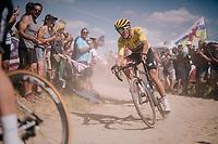 yellow jersey / GC leader Greg Van Avermaet (BEL/BMC)on pavé sector #2<br /> <br /> Stage 9: Arras Citadelle > Roubaix (154km)<br /> <br /> 105th Tour de France 2018<br /> ©kramon