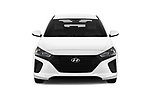 Car photography straight front view of a 2019 Hyundai Ioniq Hybrid Blue 5 Door Hatchback