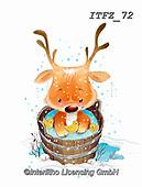 Interlitho-Fabrizio, Comics,CHRISTMAS ANIMALS, WEIHNACHTEN TIERE, NAVIDAD ANIMALES, paintings+++++,reindeer,#XA#,ITFZ72,Christmas,sticker,stickers